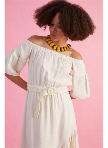 Z Giyim Kadın  Taş  Kayık Yaka Pamuklu Elbise Taş